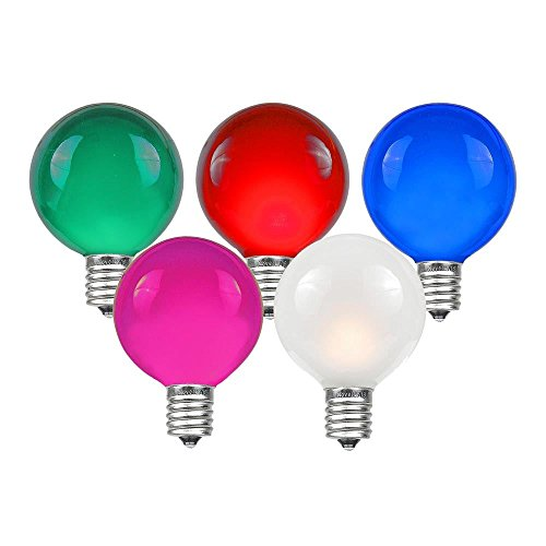 Novelty Lights 25 Pack G40 Outdoor Globe Replacement Bulbs, Multi, C7/E12 Candelabra Base, 5 Watt