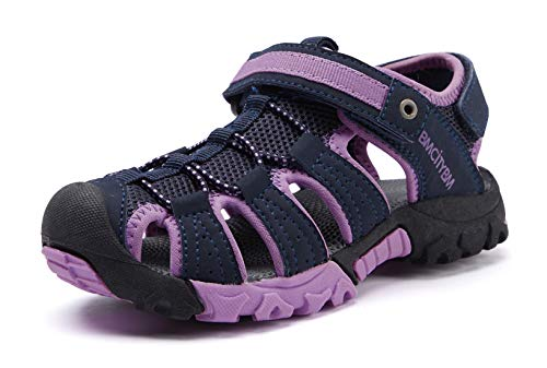 Girls Hiking Sport Sandals Toddler Kid Closed Toe Water Shoes Purple Size 13 (Hiking Sandals Kids)