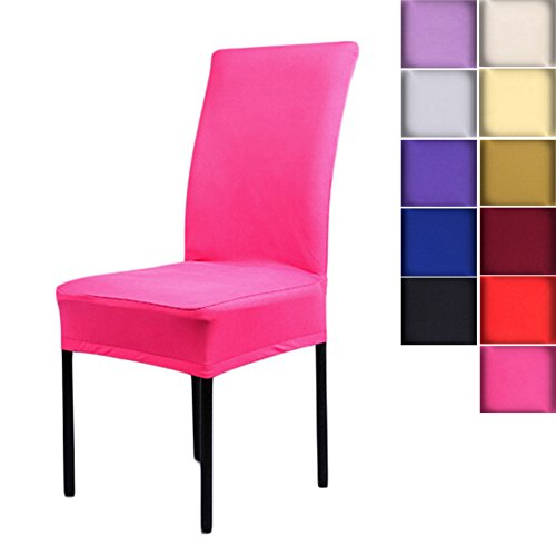 SHZONSTMUniversal Stretch Spandex Removable Washable Short Dining Chair Cover Protector Seat Solid Slipcovers for Hotel,Dining Room,Ceremony,etc.(Hot Pink) (Pink Hot Chair)