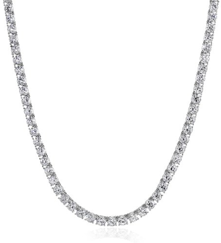 Platinum Plated Sterling Tennis Necklace set with Round Cut Swarovski Zirconia (44.25 cttw) (5mm), 17