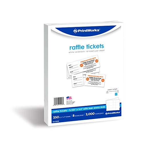 - PrintWorks Heavyweight Perforated Cardstock for Raffle Tickets, Coupons, and More, Tear-Away Stubs, 8.5 x 11, 67 lb, 8 Tickets Per Sheet, 250 Sheets, 2000 Tickets Total, White (04296) (2.125 x 5.5)