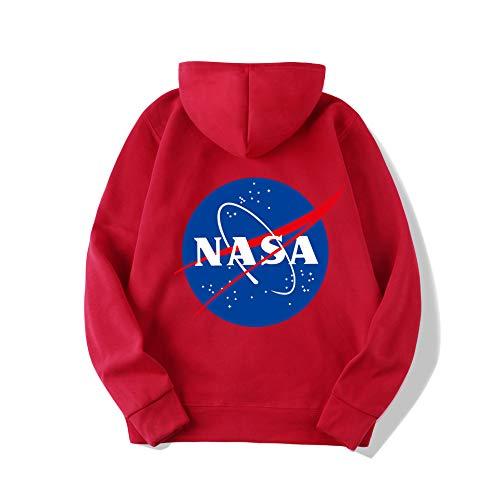 azul gris Sudaderas Rojo Hombre blanco Nasa Unisex rosa Cuello De negro rojo Capucha Arte Con Zbsport Largas Mangas Redondo Suéter Impreso Zf4waxqqn