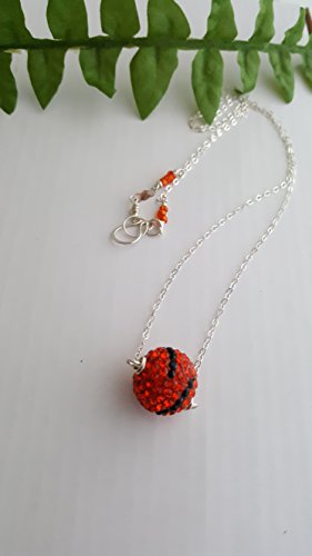 - Orange Tiger Striped Pave' Crystal Bead Necklace with 925 Sterling Silver Chain by LGBStyles Jewelry