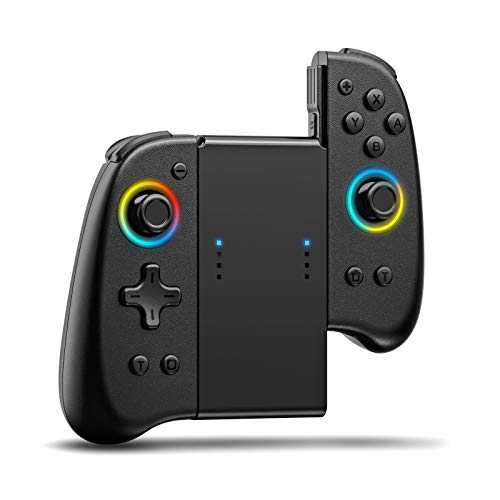 Joypad Controller Compatible with Switch 8 Colour Adjustable LED, Replacement with D-Pad & Non-Slip Grip for Switch joycon, Wireless Ergonomic JoyCon L/R Remotes Gamepad Joystick Controller