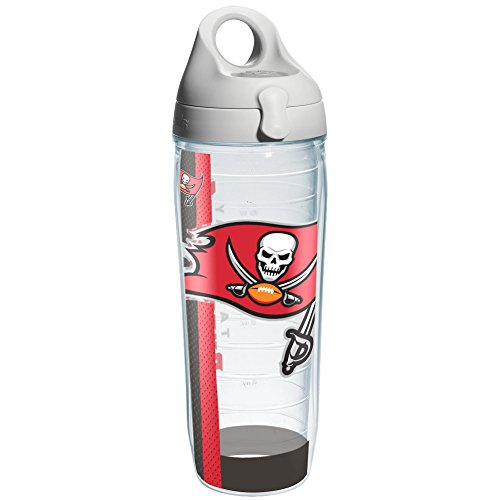 Tervis NFL Tampa Bay Buccaneers Colossal Wrap Individual Water Bottle with Gray Lid, 24 oz, (Tampa Bay Buccaneers Bottle)