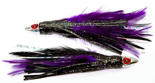 Boone Feather Trolling Jig (Pack of 2), Purple/Black, 4-Inch