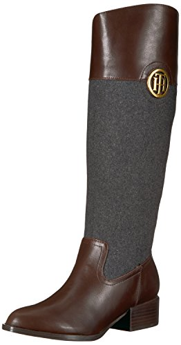 Tommy Hilfiger Women's Madelen Equestrian Boot, Grey Flannel/Brown