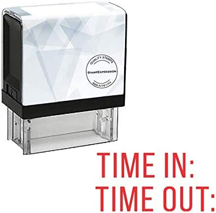 TIME in TIME Out Office Self Inking Rubber Stamp A-5785 StampExpression Red Ink
