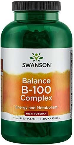 Swanson B-100 B-Complex Vitamins Energy Cardio Stress Metabolism Support 300 Capsules (Caps)