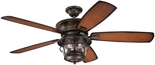 Westinghouse Lighting Westinghouse 7800000 Brentford 52-Inch Aged Walnut Indoor Outdoor Ceiling Fan, Light Kit with Clear Seeded Glass, 52 Inch