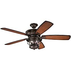 Westinghouse 7800000 Brentford 52-Inch Aged Walnut Indoor/Outdoor Ceiling Fan, Light Kit with Clear Seeded Glass
