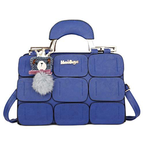 Satchel Boston - Coofig Women Tote Bag PU Leather Handbags Top Handle Satchel Purse Shoulder Bag Boston Bag (Blue)