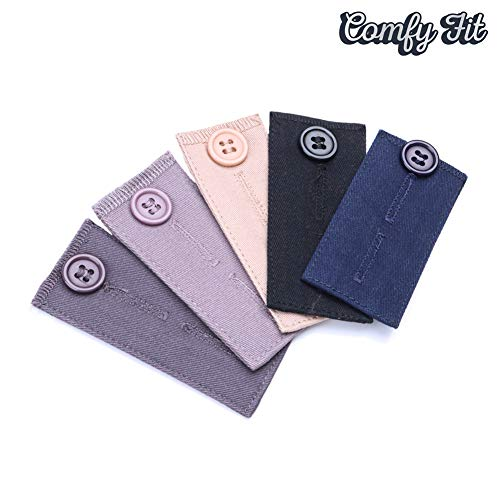 Comfy Fit Pants Waist Extender for Dress Pants Khakis Short, Cloth Fabric in Various Color, 5 pcs