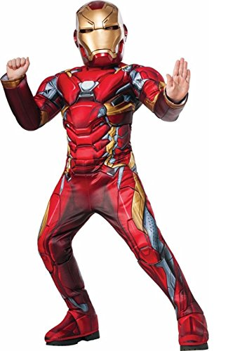 [Iron Man Super Deluxe Child Costume (L)] (Iron Man Shirt And Mask Costumes)
