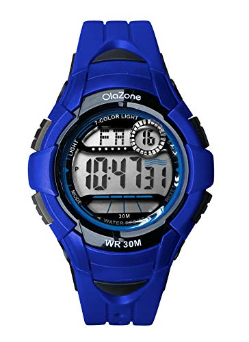- Kids Watch Girls Boys Digital Sports 7-Color Flashing Light Water Resistant 100FT Alarm Gifts for Girls Boys Age 5-10 481 (Blue)