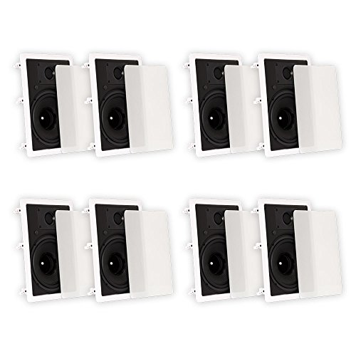 Theater Solutions TS80W In Wall 8'' Speakers Surround Sound Home Theater 4 Pair Pack by Theater Solutions