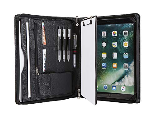 Handmade Genuine Leather Conference Folder Zipped for iPad Pro 12.9(2018), A4 Size Portfolio Padfolio Case with Clipboard,Business Organizer,A4 Document Folder,Black (Zipped Conference Folder)