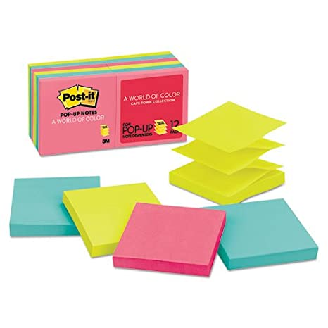 Amazon.com : Post-it Pop-up Notes Original Pop-up Refill, 3 x 3, Capetown, 100/Pad, 12 Pads/Pack : Office Products