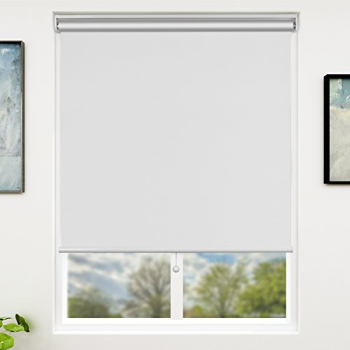 SUNFREE White Blackout Window Shades Cordless Window Blinds with Spring Lifting System for Home & Office, 33 x 72 Inch
