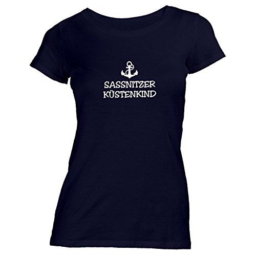 Monkiez Damen T-Shirt - Sassnitzer Küstenkind - Anker Sassnitz Schiffsanker Küste Maritim Schwarz hlvb7I