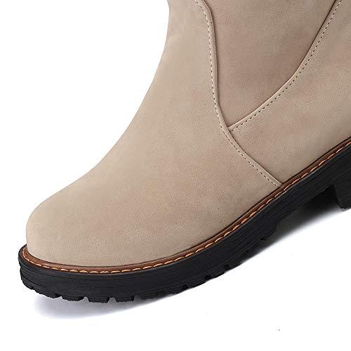 Talons Du Chaussures Longues Pour Suède Genou D'hiver Bottes Doublé Bigtree Épais Au Beige dessus Hautes À Classique Femmes zwt1PUq