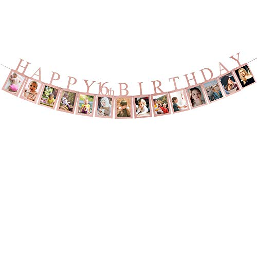 Decorations For Sweet Sixteen Party (Rose Gold Happy 16th Birthday Photo Banner - Sweet Sixteen Photo Prop Party Bunting Birthday Party)
