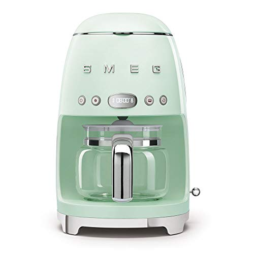 Smeg 1950's Retro Style 10 Cup Programmable Coffee Maker Machine (Pastel Green)