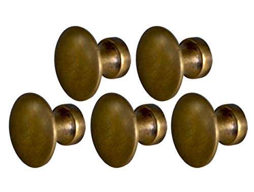 Small 5/8 inch Authentic Size Antique Style Knobs for Cabinets and Barrister Sectional Bookcases 5 Pcs