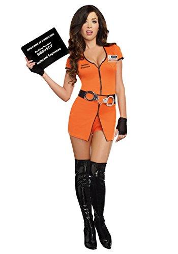 Dreamgirl Women's Locked Up Costume, Orange,