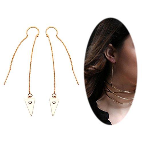 - Threader Drop Earring Dangle Ear Long Bar Chandelier Tassel Chain Retro Triangle Crystal Ear Line Jewelry Triangle