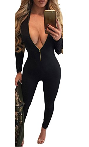[Women's Sexy Long Sleeve Deep V Neck Zip Up Bodycon Jumpsuits Black M] (Sexy Jumpsuit Costumes)