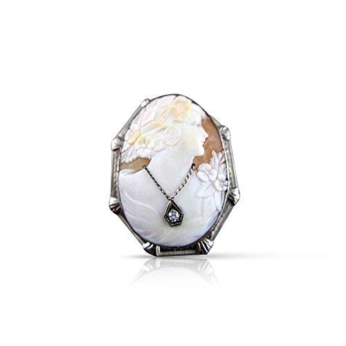 Milano Jewelers LARGE .05CT DIAMOND FILIGREE LADY CAMEO 14K WHITE BROOCH & PENDANT #2096