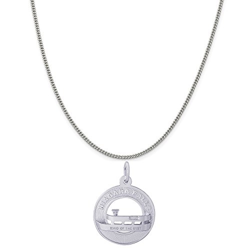 Rembrandt Charms Sterling Silver Niagara Falls Maid of The Mist Charm on a Curb Chain Necklace, 18