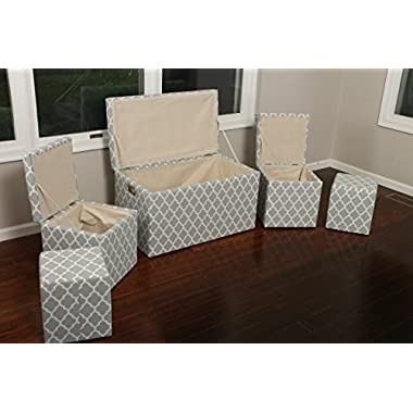Oliver and Smith  Cloth Storage Ottoman With - 3 Ottomans & 2 Stools - 33  x 17.5  x 18.5  - 1338 Grey and White Trellis