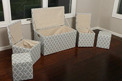 Oliver and Smith  Cloth Storage Ottoman With - 3 Ottomans & 2 Stools - 33