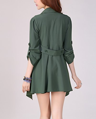 Donna Autunno Puro Colore Giacca Baggy Orlare Revers Giubbotto Verde Semplice Oversize Casuale Elegante Longsleeve Irregular Cappotto Giacche Glamorous Tops dS5rwOqB5