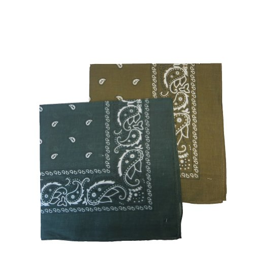 "12 PACK' Bandanas 100% Cotton Head Wrap 22"" x 22"" - 6 Hunter Green and 6 Brown in 1 pack"