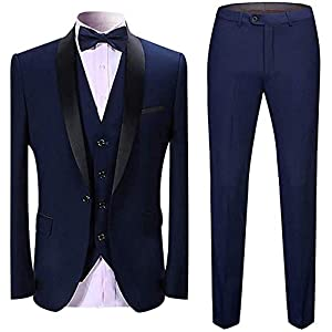 Dhingra Men's Slim Fit 3pcs Tuxedo Suit (Coat, Pant & Waistcoat) – 3 Colors