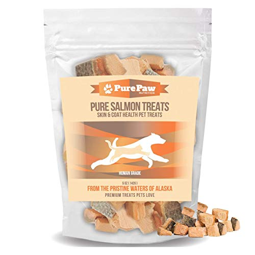 Wild Alaskan Salmon Treats for Dogs & Cats Healthy, Gluten Free, Grain Free, Single Ingredient, Low Carb, All Natural, Soft Training Reward Treats for Puppies, Kittens or Seniors Made in the USA Only