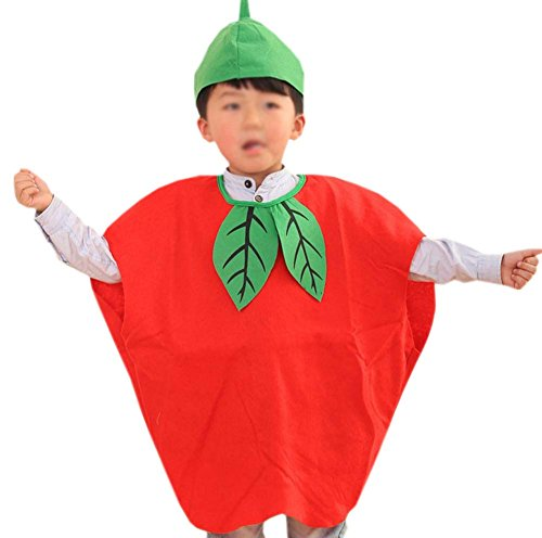 Red Apple Child Costumes (ANDES Child Party Clothing Red Apple Costume Suit for Halloween Holidy (Apple))