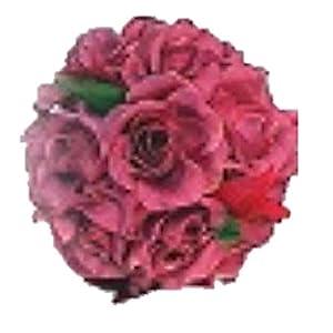 "Wedding Flowers 4"" Rose Kissing Ball Artificial Silk Bouquet Home Party Decoration (Mauve) 13"