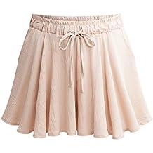 Sunfan Women's Casual Loose Culottes Shorts Elastic Waist Wide Leg Shorts