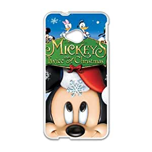 HTC One M7 White phone case Classic Style Disney Cartoon Mickey's Once Upon a Christmas OBN8955364