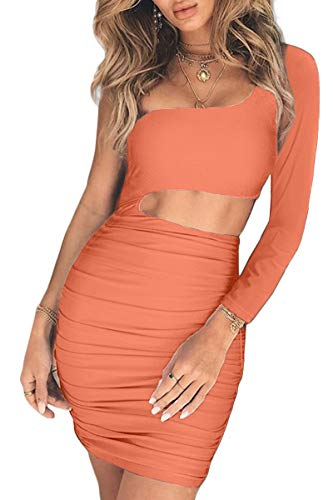 (CHYRII Women's Sexy One Shoulder Sleeveless Cutout Bodycon Party Club Mini Dress Orange-8808 XL)