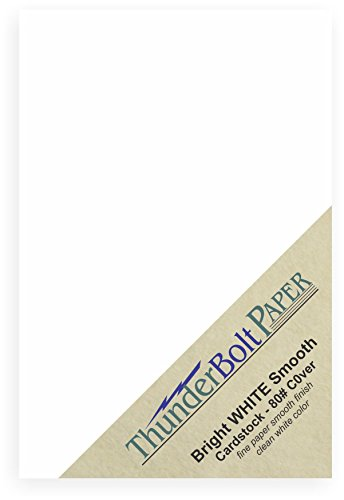 "100 Bright White Smooth Card Paper Sheets - 80# Cover Weight - 5"" X 7"" (5X7 Inches) Photo