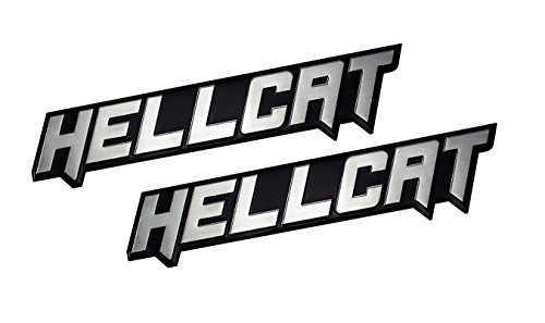 2 x (Pair / Set) SILVER on BLACK Highly Polished Aluminum HELLCAT Hell Cat EMBLEMS Badge Nameplate Logo Decal Rare for Dodge Challenger Charger 707 hp Horsepower 6.2L Supercharged HEMI V8 SRT SRT8 2dr -  ERPART, 106-ERPEMB439SL