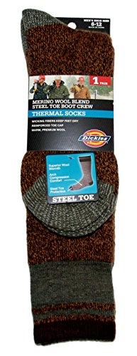 [Dickies Men's Steel Toe Merino Wool Blend Boot Crew Socks, Brown Marl, 10-13 Sock/6-12 Shoe] (Mens Apparel Wool Socks)