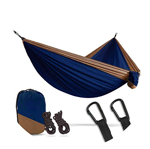 Zgen 2 Person Double Camping Hammock XL 10 Foot Nylon Portable Heavy Duty Holds 700lb for Sitting Hanging Big Crazy Sale,Dark Blue tan (Ace Crochet Patterns)