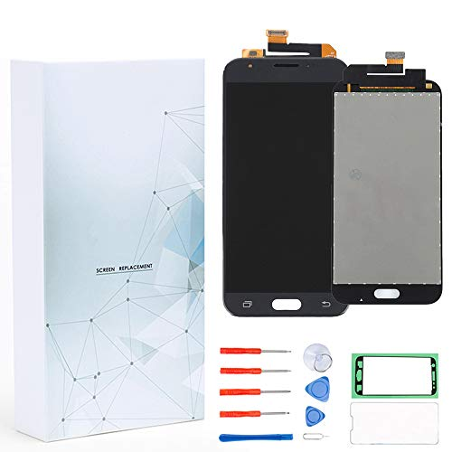Maojia Screen Replacement For Galaxy J3 2017 Prime SM-J327 J327R4 J327T J327T1 J3 Amp Prime 2 SM-J327AZ J3 Emerge J327A J327P J3 V 2017 J327V Glass LCD Display Touch Digitizer Assembly + Tools (Black)