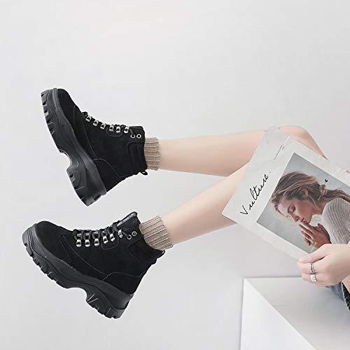 Pingxiannv Invierno Botines Martin Cordones Suela Mujer Negro Con Ecuestre Zapatos Gruesa Impermeables Botas Plataforma wrI5xqpr